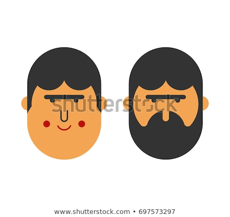 with beard and no beard before and after brutal hipster and ch stock photo © popaukropa