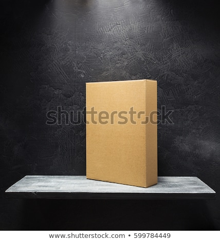 White cardboard box on wooden shelf as copy space Stock photo © stevanovicigor