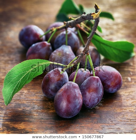 Stock photo: Fresh plums with green leaves on wooden rustic background, top view