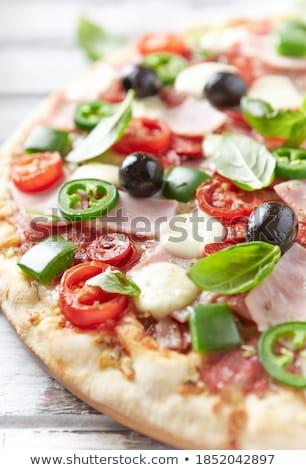 Finom pizza sonka olajbogyók frissen sült Stock fotó © zhekos