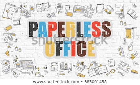 paperless office concept multicolor on white brickwall stock photo © tashatuvango