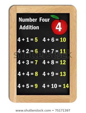 number four addition tables on a blackboard Stock photo © dcwcreations