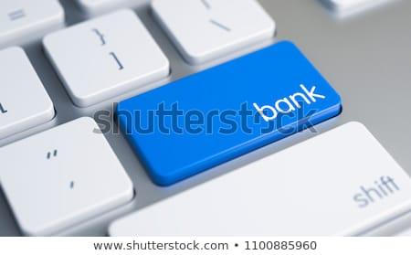 Foto stock: Pesquisar · azul · botão · pc · teclado · moderno