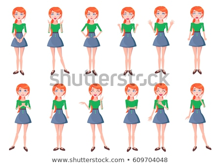 beautiful red-haired lady, gesticulate and smile Stock photo © balasoiu