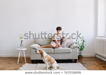 Young woman, dog sitting beside her Stock photo © IS2