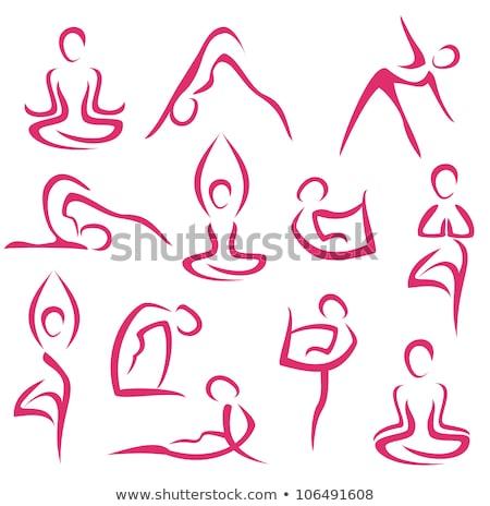 Yoga Pilates Pose Silhouette Woman Concept Stock photo © Krisdog