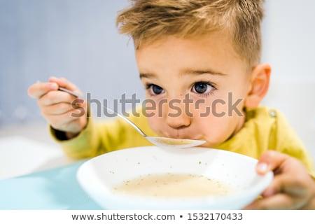 keuken · eten · soep · jongen · vergadering - stockfoto © monkey_business