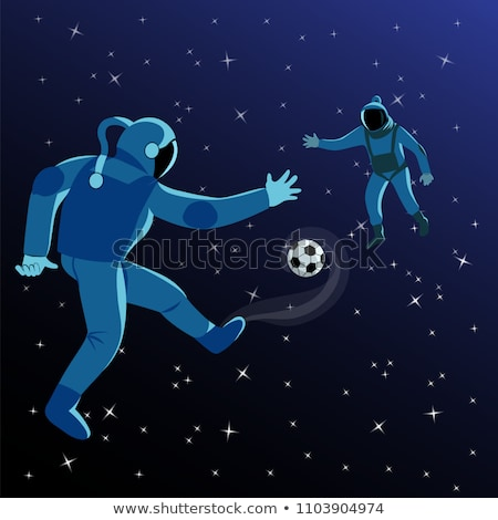 Astronaut plays football with the Moon Stock photo © studiostoks