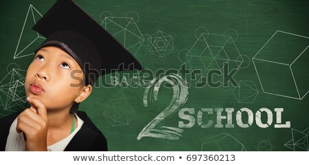 Thoughtful girl wearing mortarboard with hand on chin against math equations Stock photo © wavebreak_media