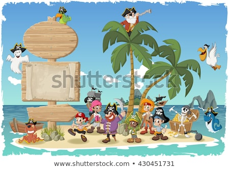 A Pirate and Happy Girl at Island Stock photo © bluering