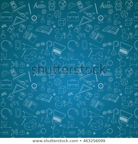 Stock fotó: Oktatás · firka · illusztráció · kék · tábla · üzlet