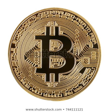 Face of the crypto currency golden bitcoin on white backgrou Stock photo © Valeriy