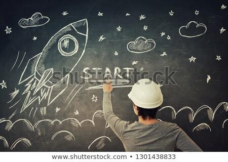 Senalando dedo cohete Cartoon hombre Foto stock © blamb