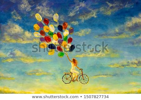 Bella ragazza abito bianco palloncini cielo felice sole Foto d'archivio © Alones