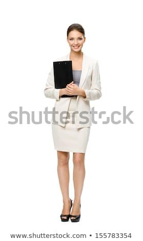 Imagem mulher de negócios longo cabelo castanho forma Foto stock © deandrobot