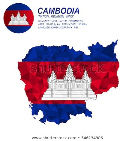 флаг · Камбоджа · флагшток · 3d · визуализации · изолированный · белый - Сток-фото © daboost