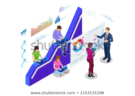 business statistics   modern isometric vector web banner stock photo © decorwithme