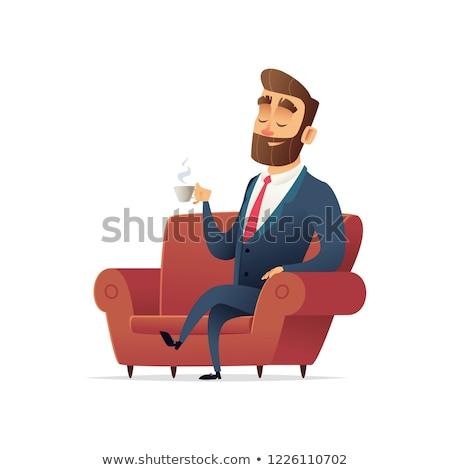Biznesmen czerwony fotel szef wektora Zdjęcia stock © MaryValery