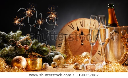 new year 2019 gold glitter champagne bottle card stock photo © cienpies
