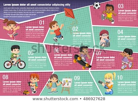 basketbal · kinderen · illustratie · groep · jongens · spelen - stockfoto © colematt