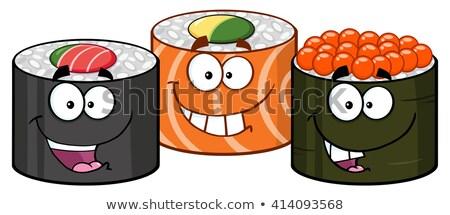 Trei sushi rula mascota de desene animate izolat Imagine de stoc © hittoon