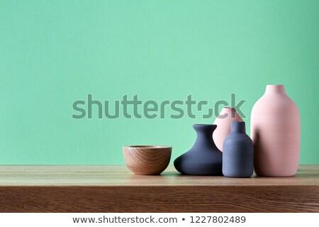 moderno · luz · azul · gesso · parede · grama · verde · grama - foto stock © melnyk