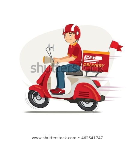food delivery service vector red scooter man pizza isolated flat cartoon illustration stock photo © pikepicture