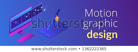 движения графического дизайна баннер графических экране компьютера Сток-фото © RAStudio