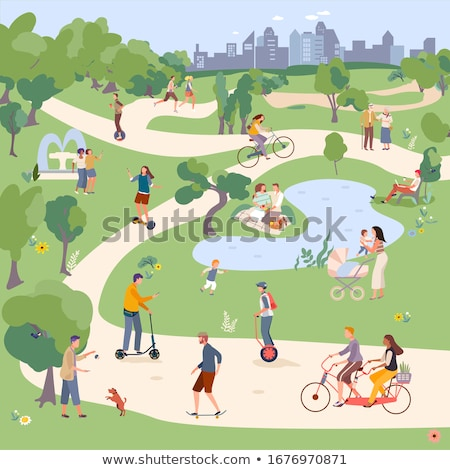 people in park man riding on segway skateboarding stock photo © robuart