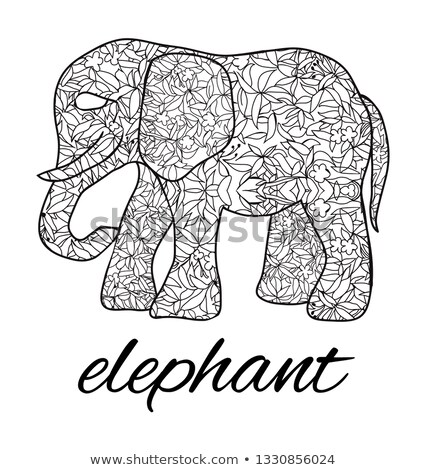 kisebbségi · elefánt · kézzel · rajzolt · természet · művészet · fekete - stock fotó © margolana
