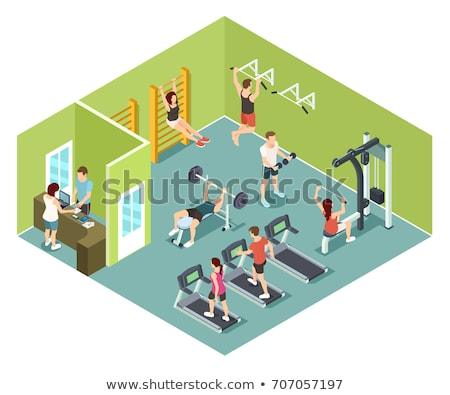 Stockfoto: Vector · isometrische · gymnasium · interieur · kamer · fitness