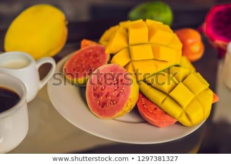 reggeli · asztal · friss · gyümölcsök · palacsinták · kávé - stock fotó © galitskaya