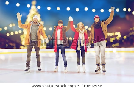 Boldog barátok integet kezek korcsolyázás pálya Stock fotó © dolgachov