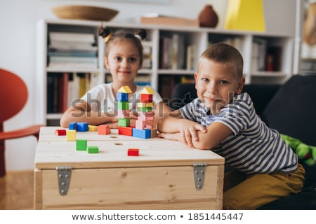 Irmão irmã jogar brinquedos ilustração menina Foto stock © colematt