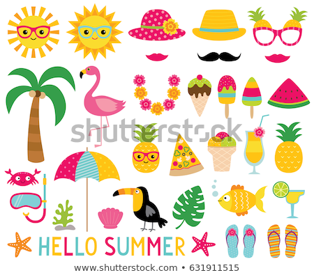 vector set of animal in hot weather stock photo © olllikeballoon