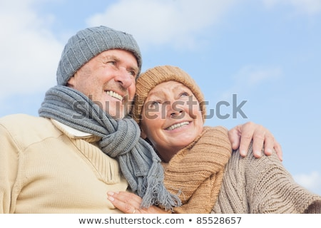 Wintertime Couple Walking Outdoors Winter Season Stok fotoğraf © robuart