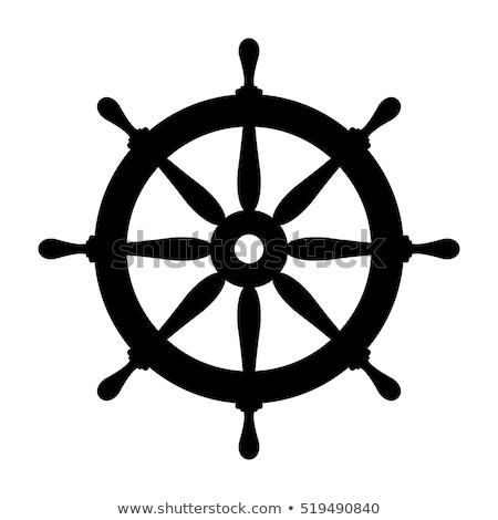 Foto d'archivio: vector boat handwheel, ship wheel helm