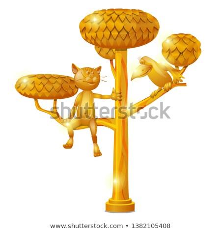 Złoty posąg formularza drzewo kot linii Zdjęcia stock © Lady-Luck