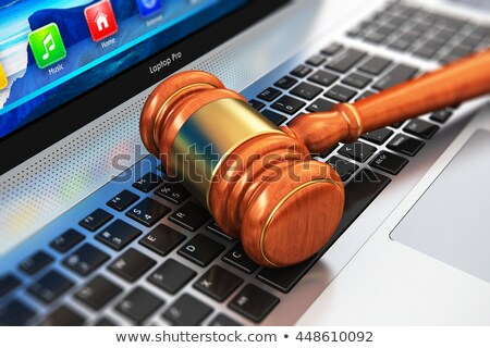 Notebook árverés kalapács fa asztal 3d illusztráció vásárlás Stock fotó © limbi007