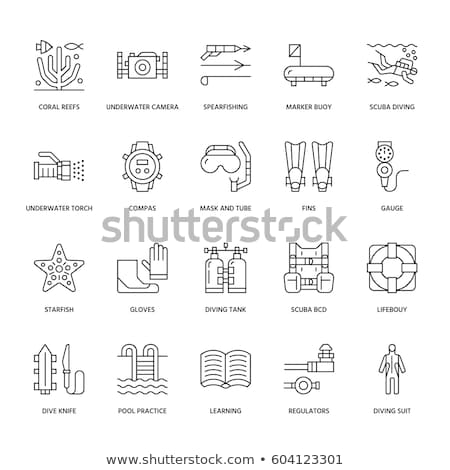 Vector icons set of diving equipment Stock photo © netkov1