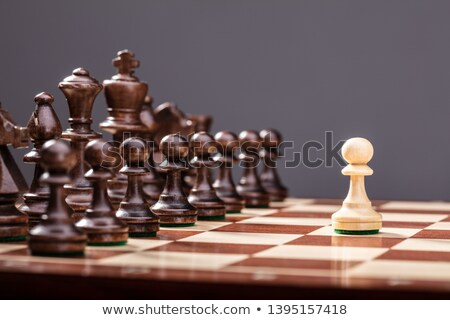 Beige Pawn Standing Against Set Of Chess Stock photo © AndreyPopov