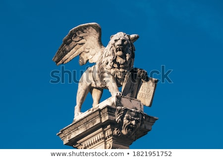 Column with the Venetian winged lion in Piazza dei signori in Vi Stock photo © boggy