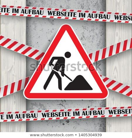 Webseite im Aufbau Concrete Wood Roadworks Sign Stock photo © limbi007