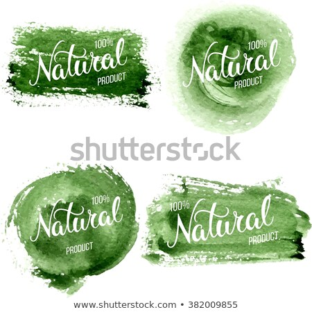 Herbal Product Isolated Lettering and Green Leaves Stock photo © robuart