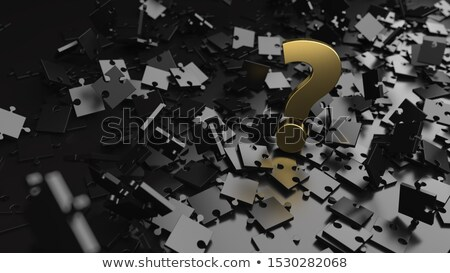 Black Puzzle Golden Question Stock photo © limbi007