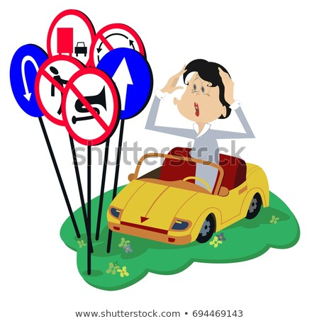 Puzzled young woman a driver isolated illustration  Stock photo © tiKkraf69
