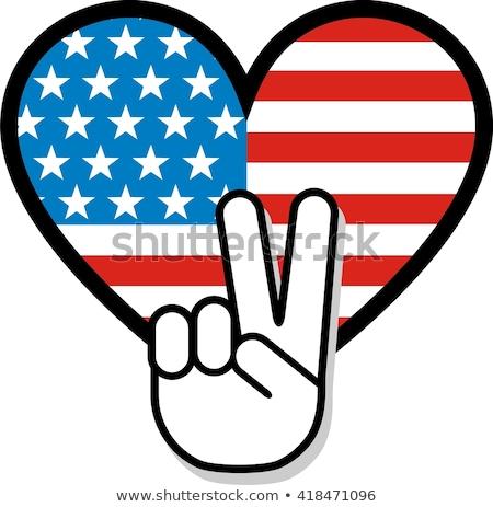 ABD vatansever barış imzalamak el simge Stok fotoğraf © jeff_hobrath