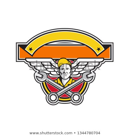 Crew Chief Crossed Spanner Army Wings Banner Icon Stock photo © patrimonio