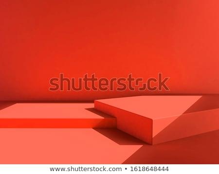 Forme de coeur cadre rouge rideaux annonce frontière Photo stock © robuart