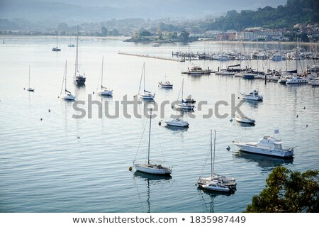 Foto stock: Aerial View Of Boats In Baiona Harbour And Fort